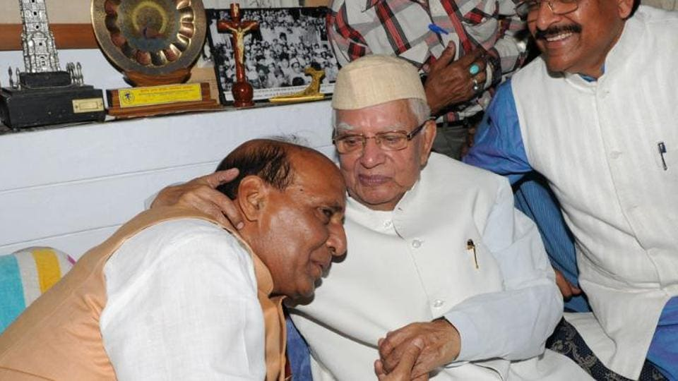 A file photo of then BJP president Rajnath Singh with former chief minister ND Tiwari in Lucknow.