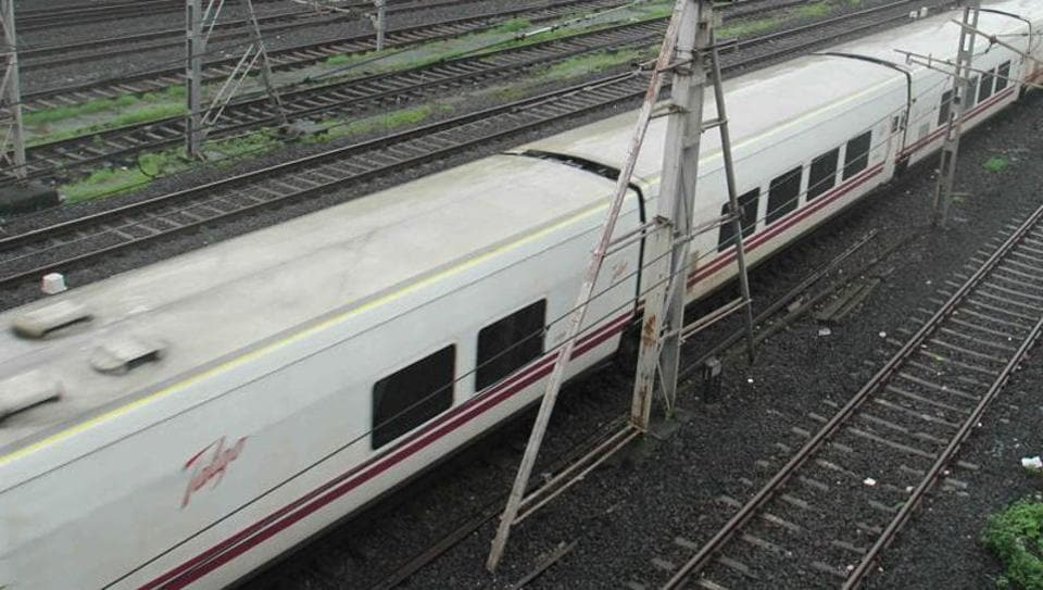 Spanish Talgo train arrives at Borivali during its first test run from Delhi to Mumbai.