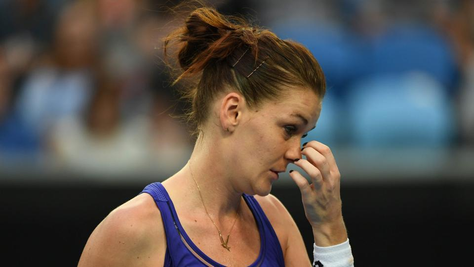 Poland's Agnieszka Radwanska reacts after her second round exit from Australian Open. (AFP)