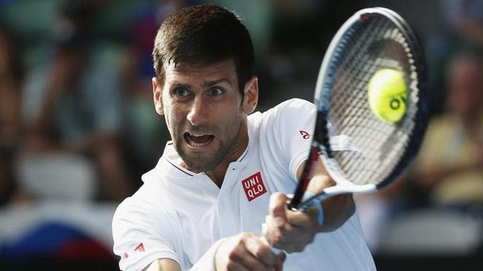 Novak Djokovic hits a shot during his second round match against Uzbekistan's Denis Istomin. Istomin shocked Djokovic 7-6, 5-7, 2-6, 7-6, 6-4.  (reuters)