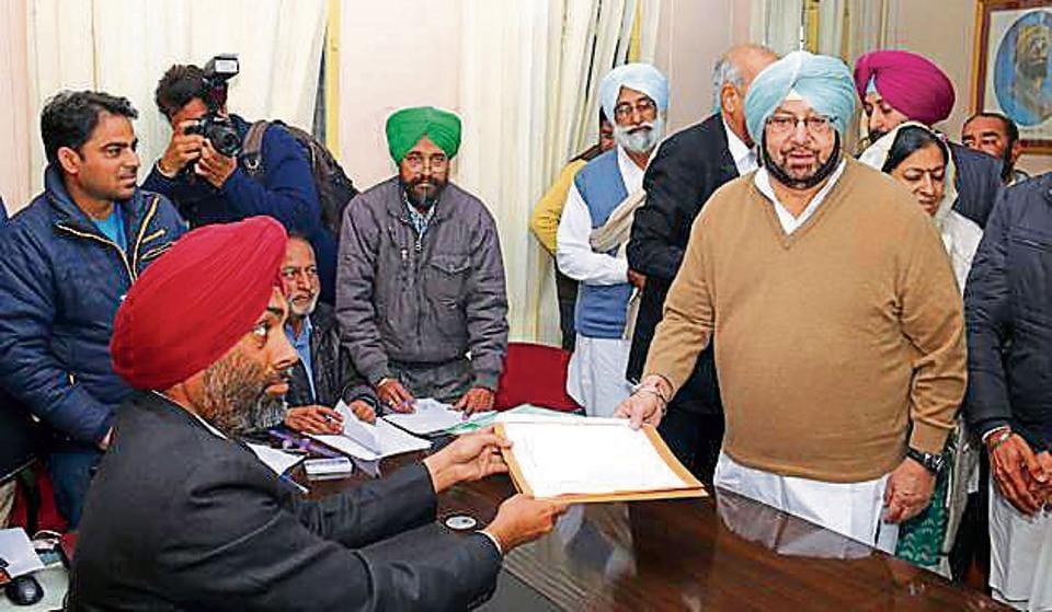 Punjab Congress chief Capt Amarinder Singh filing his papers in Lambi in Muktsar on Wednesday.