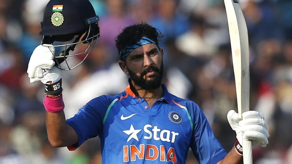 Yuvraj Singh scored his 14th ODIton to steady India's innings after a rocky start against England in the second ODI in Cuttack.