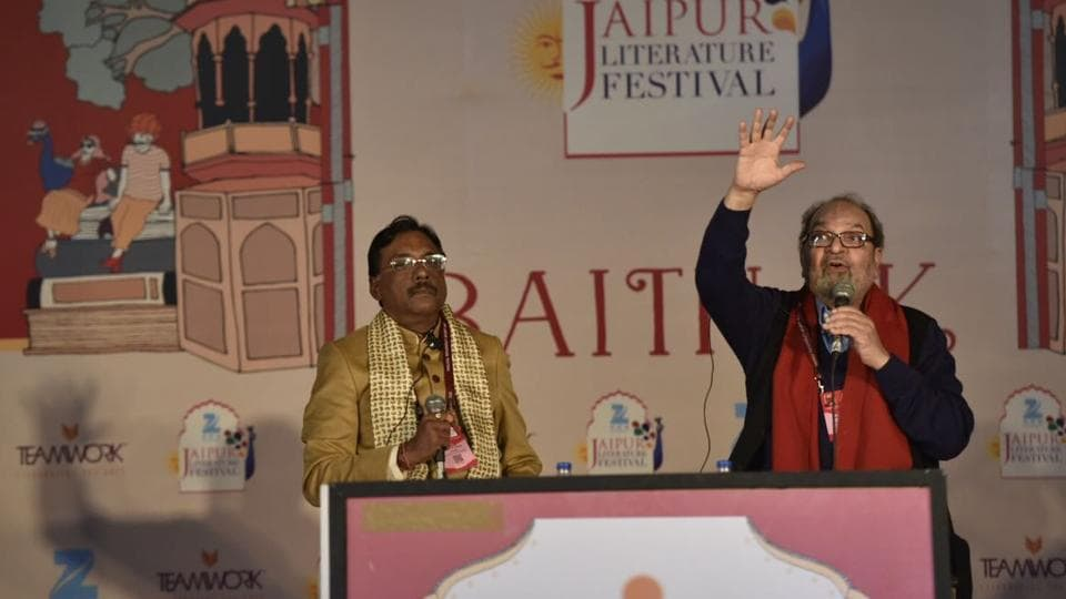 Civil servant Pavan K Varma and journalist Saeed Naqvi during a session at the Jaipur Literature Festival in Jaipur on Friday.