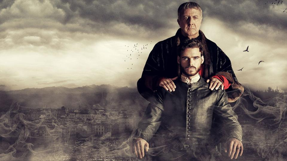 Richard Madden and Dustin Hoffman in Medici.