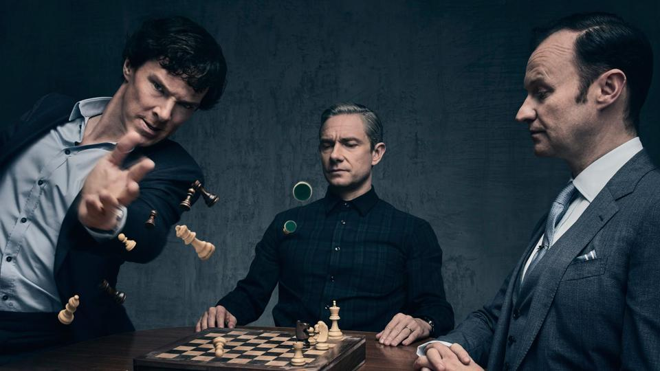 """Mark Gatiss, who also plays Sherlock's brother Mycroft on the BBC series, went on to describe Benedict Cumberbatch, 40 and co-star Martin Freeman as """"the definitive Holmes and Watson of our age""""."""