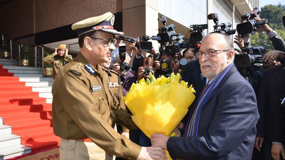 Alok Verma with Anil Baijal at the police HQ in Delhi.