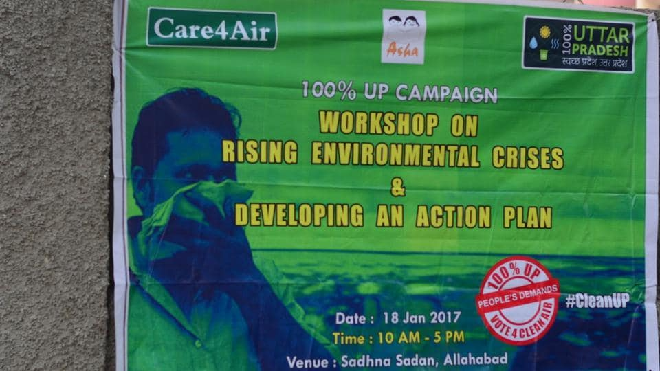 A poster put up at the venue of a seminar to discuss environmental issues to be included in poll manifestos of political parties.