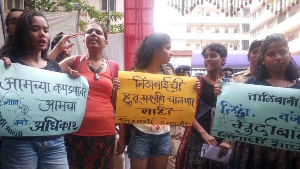 Students protest outside SNDT Women's College on Friday.