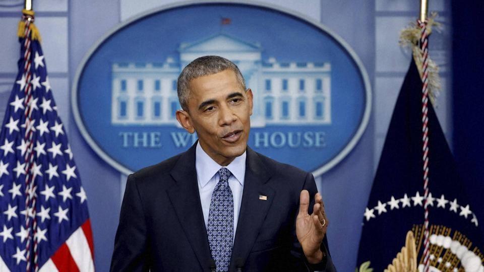 President Barack Obama speaks during his final presidential news conference.