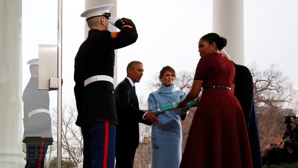 The Obamas receive a gift from the future First lady Melania Trump at the White House in Washington, on Friday, before the inauguration of Donald Trump as the next US President . (REUTERS)