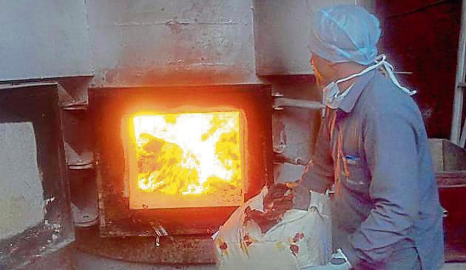 The Customs Department dispose of confiscated heroin by burning them inside a furnace.