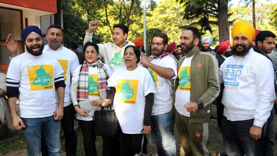 AAP's NRI supports upbeat on the sidelines of a press conference in Chandigarh on Thursday.