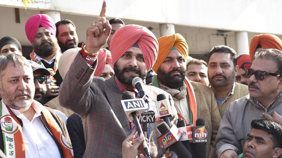 Congress leader Navjot Singh Sidhu addressing a rally at his constituency in Amritsar on Thursday.
