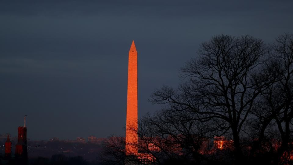 The Washington Monument, seen from the West Front of the US Capitol, on January 20, 2017 in Washington, DC. The monument was built to commemorate the first president of USA, George Washington. On his inauguration, Donald Trump will become the 45th president of the country. (AFP)