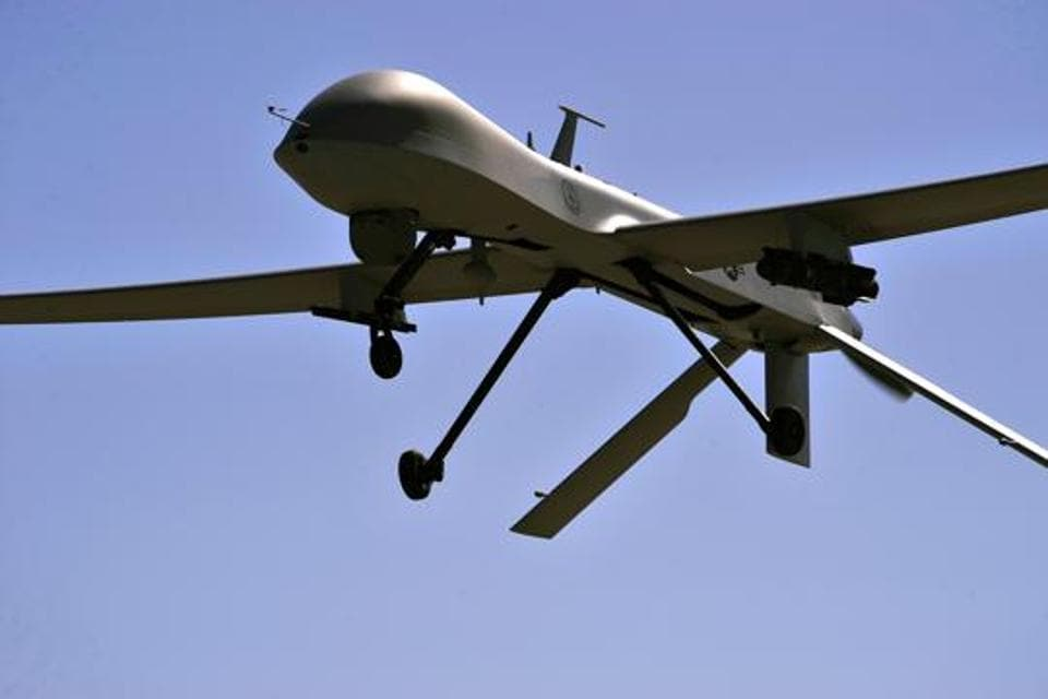 US Air Force MQ-1B Predator remotely piloted aircraft as it flies overhead during a training mission in Nevada.