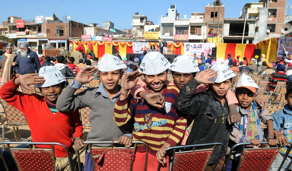 Children at an AAP rally in Balongi in SAS Nagar segment on January 10.