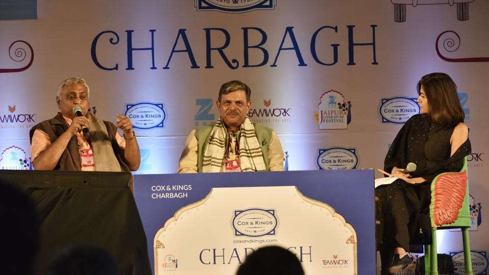 L to R) RSS leaders Manmohan Vaidya and Dattatreya Hosabale speak to Pragya Tiwari at Saffron and the Sangha session at the Jaipur Literature Festival on Friday.