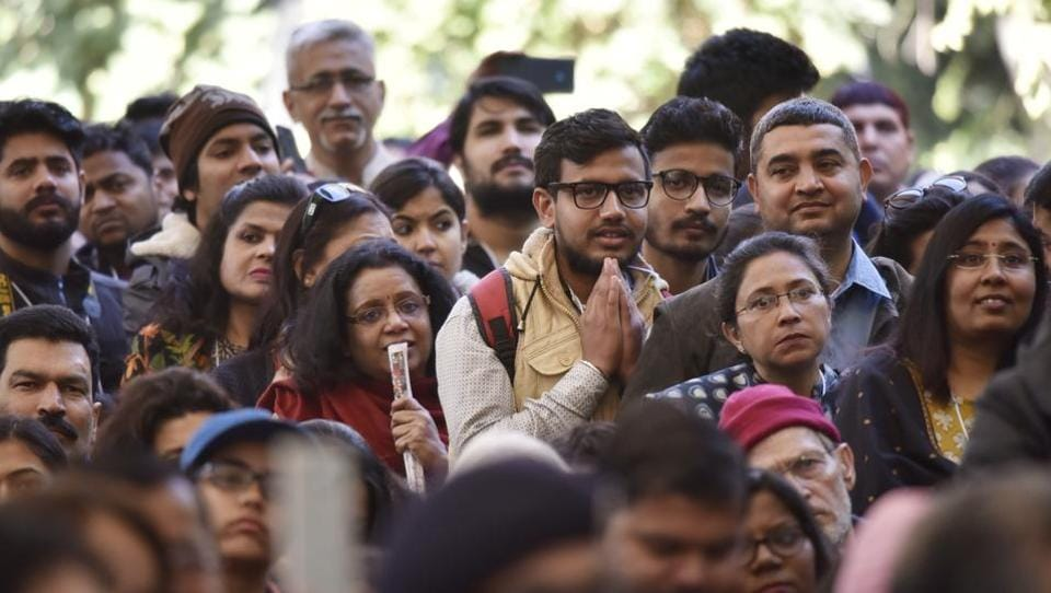 People listening to a session at the Jaipur Literature Fest 2017 in Jaipur on Thursday.