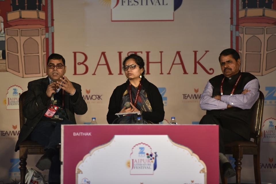 Hindi author Ajay Navaria and Anu Singh Choudhary during the session, Look Back in anger: Writing and Remembering session, at the Jaipur Literature Fest 2017 in Jaipur.