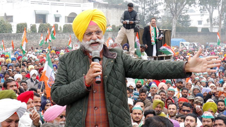 Congress candidate from Kapurthala Rana Gurjit Singh addressing a rally in Kapurthala on Thursday.