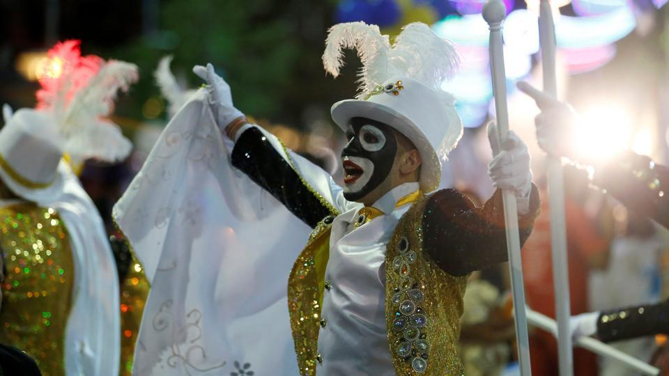 Members of an Uruguayan carnival group participate in the inaugural parade of the Uruguayan Carnival in Montevideo.  (Andres Stapff / REUTERS)
