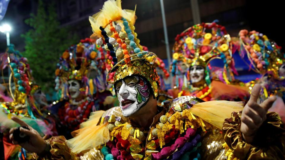 Members of an Uruguayan carnival group participate in the inaugural parade of the Uruguayan Carnival in Montevideo. The parade has its traditional roots in Afro-Uruguayan culture (Andres Stapff / REUTERS)
