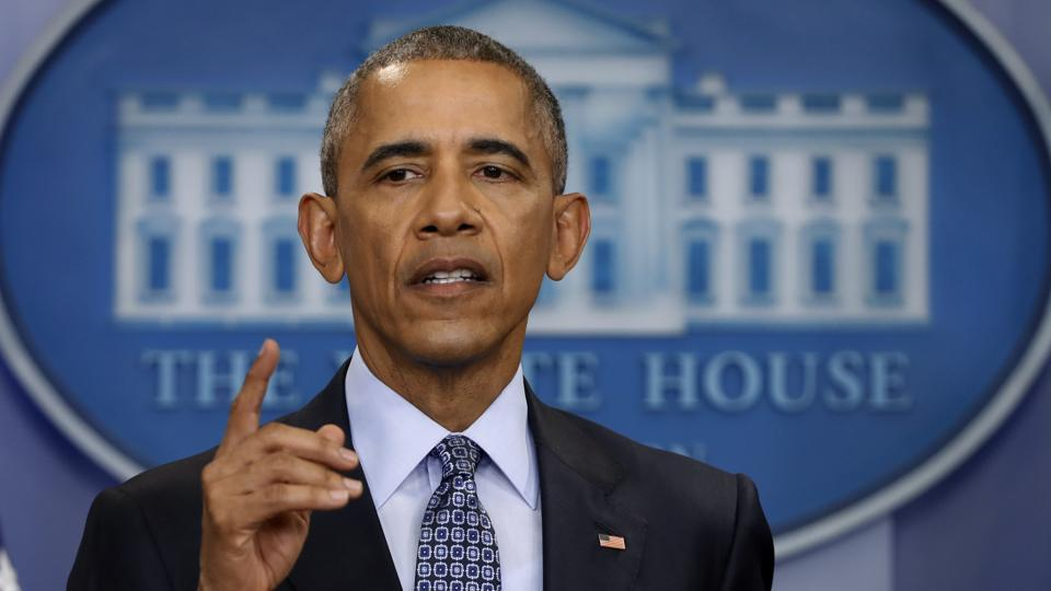 In this photo taken Jan. 18, 2017, President Barack Obama speaks during his final presidential news conference, in the briefing room of the White House in Washington.