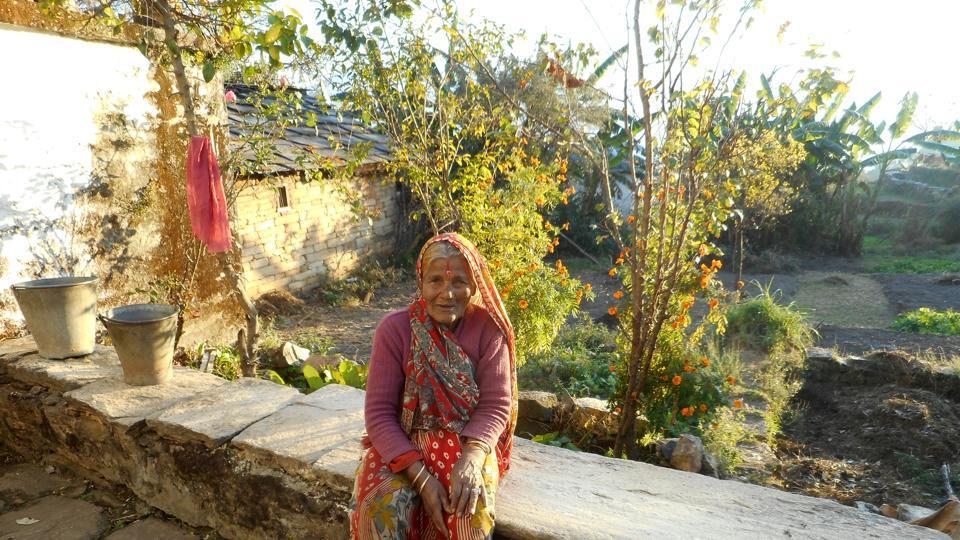 Cabinet minister Indira Hridayesh's cousin sister Bhagirathi Devi at her ancestral village Dashauli in Pithoragarh district.