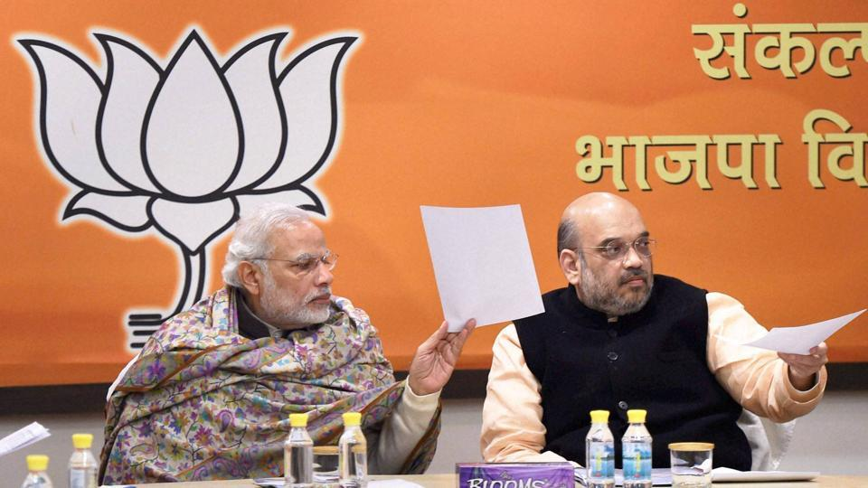 Prime Minister Narendra Modi and BJP President Amit Shah during the BJP Central Election Committee.