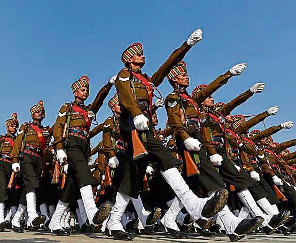 Indian Army rehearsing for Republic Day parade at Rajpath on Friday.