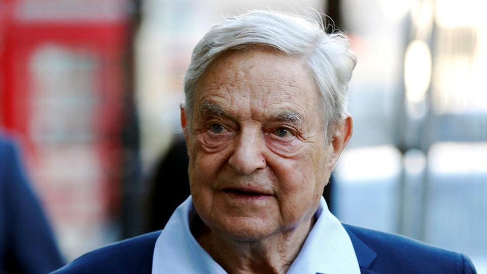 Business magnate George Soros arrives to speak at the Open Russia Club in London, Britain.