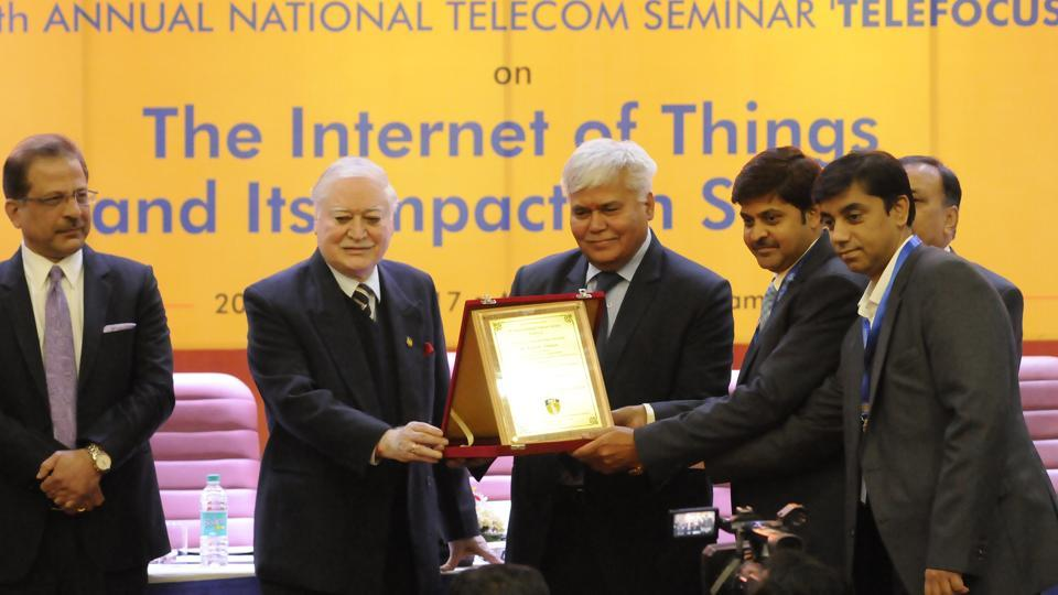 TRAI chief RS Sharma (second from left) at the seminar, 'TeleFocus', in Amity University on Friday.
