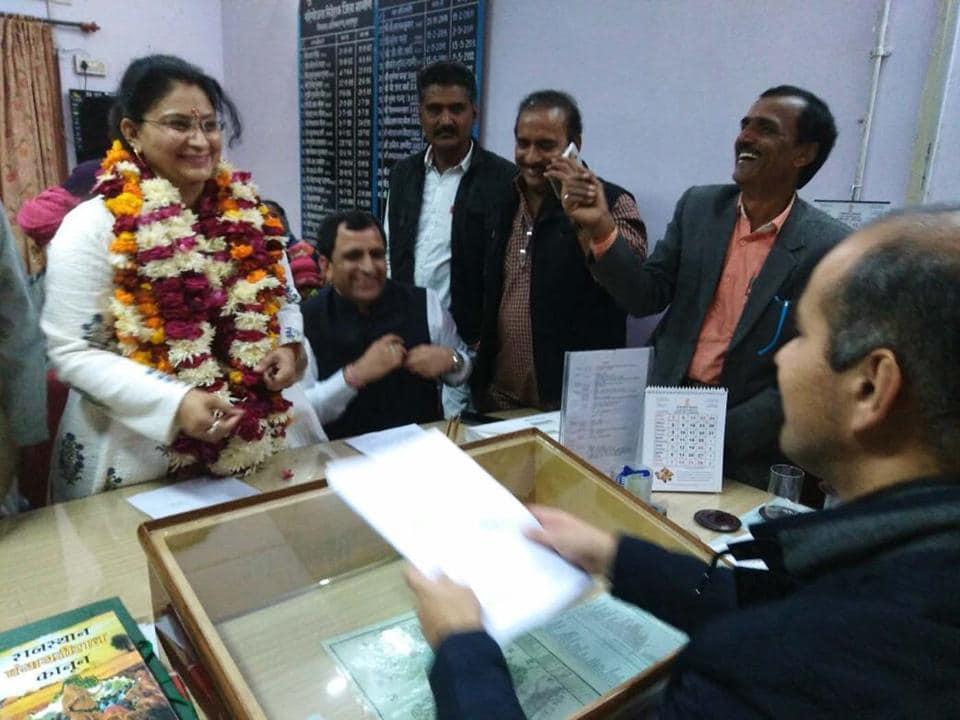 Sulbha Sinsinwar  declared herself as the  new Bharatpur zila pramukh on Friday.