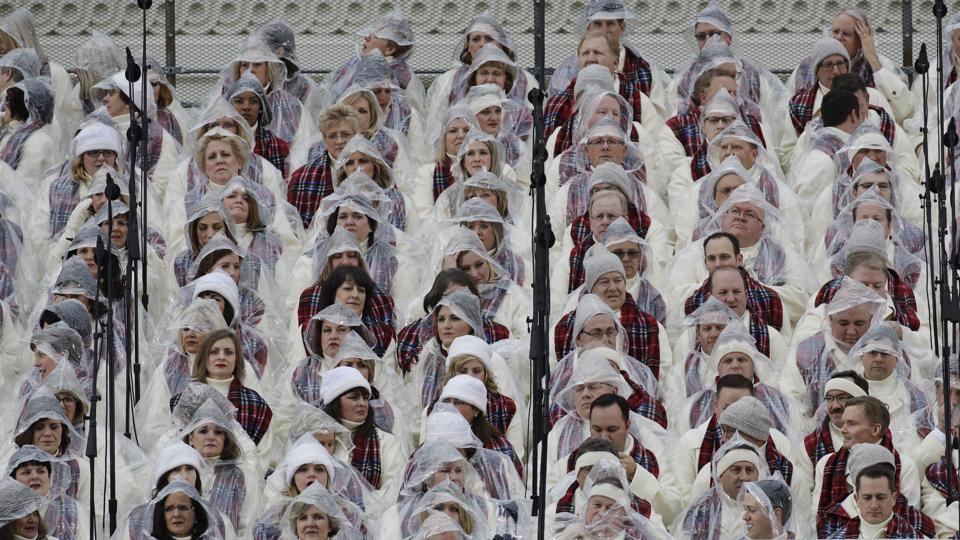 Members of the Mormon Tabernacle Choir wait for the swearing in of Donald Trump as the 45th president of the Untied States at the US Capitol in Washington on Friday. (AP)
