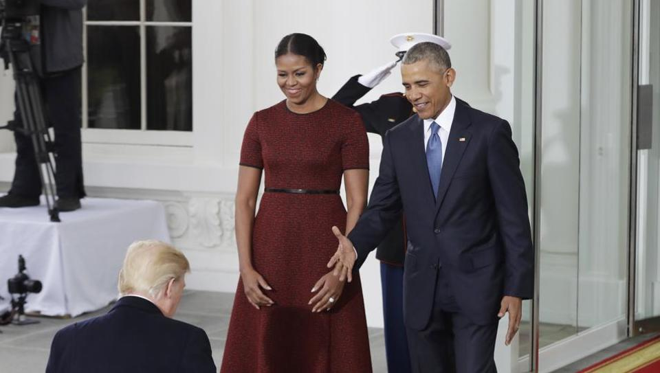 President Barack Obama and first lady Michelle Obama greet President-elect Donald Trump at the White House in Washington on Friday. (AP)