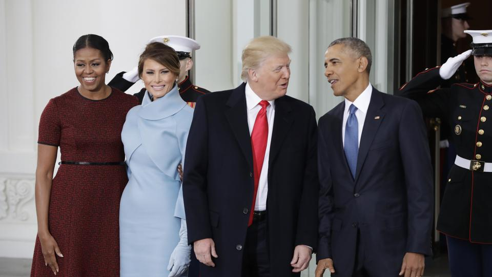 President Barack Obama and first lady Michelle Obama pose with President-elect Donald Trump and his wife Melania at the White House in Washington.