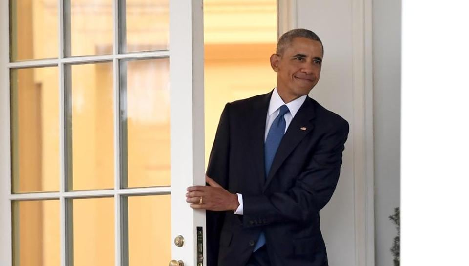 Barack Obama departs the Oval Office for the last time as president, at the White House in Washington, DC.