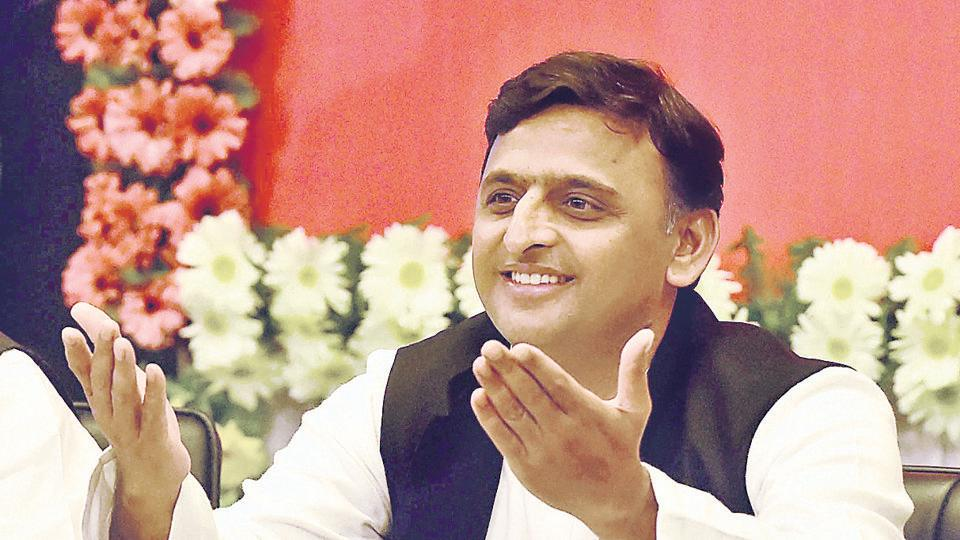 Uttar Pradesh chief minister Akhilesh Yadav at a programme on completion of four years of his government in Lucknow.