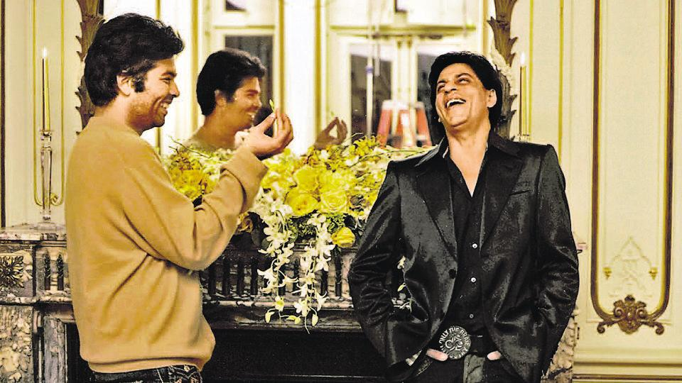 Karan Johar with actor Shah Rukh Khan on the sets of Kabhi Alvida Na Kehna.