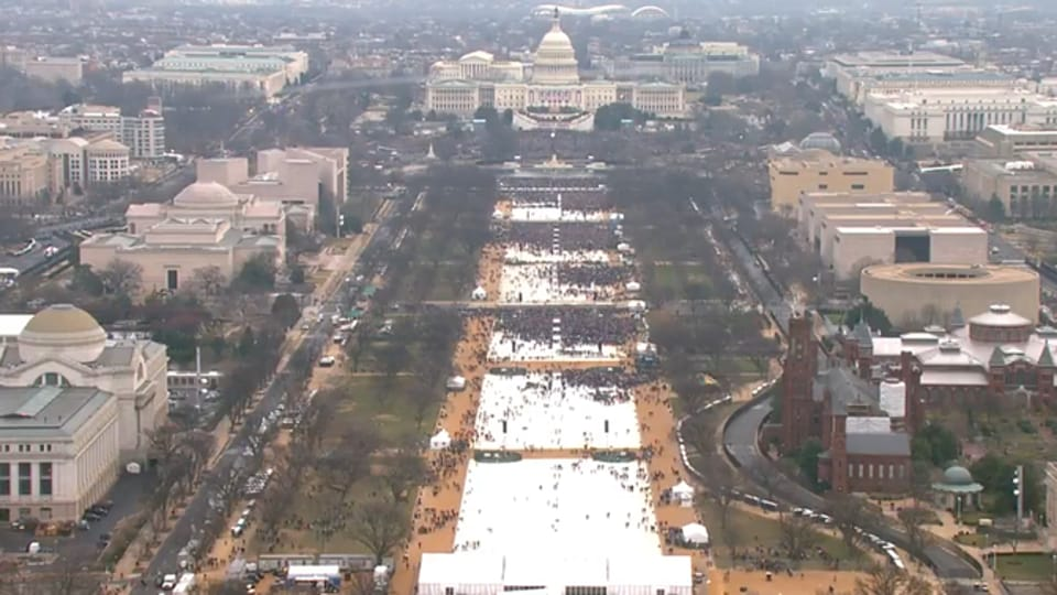 Far fewer people attended President Donald Trump's inauguration Friday than his predecessor's swearing-in eight years ago.