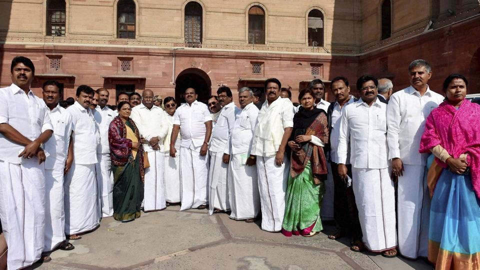 AIADMK leaders at the North block in New Delhi.