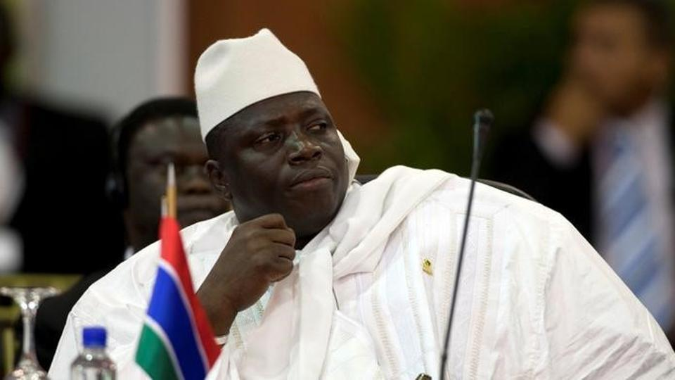 Gambia's President Al Hadji Yahya Jammeh attends the plenary session of the Africa-South America Summit on Margarita Island September 27, 2009.  Jammeh finally agreed to step down from power on Jan 21, 2017, after being defeated by Adama Barrow in an election.