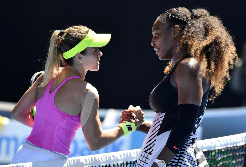 United States' Serena Williams (right) is congratulated by compatriot Nicole Gibbs. Serena Williams won 6-1, 6-3. (AP)
