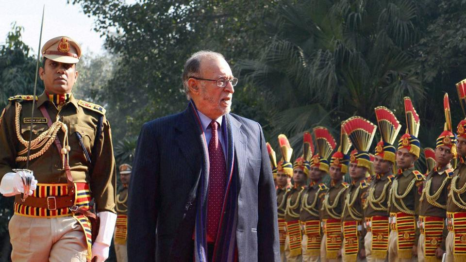 Lt  governor Anil Baijal inspects the guard of honor presented to him during his visit to Police Headquarters in New Delhi on January 20, 2017.