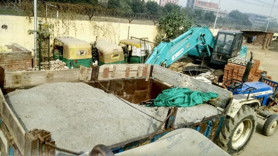 The trucks seized by Greater Noida police.