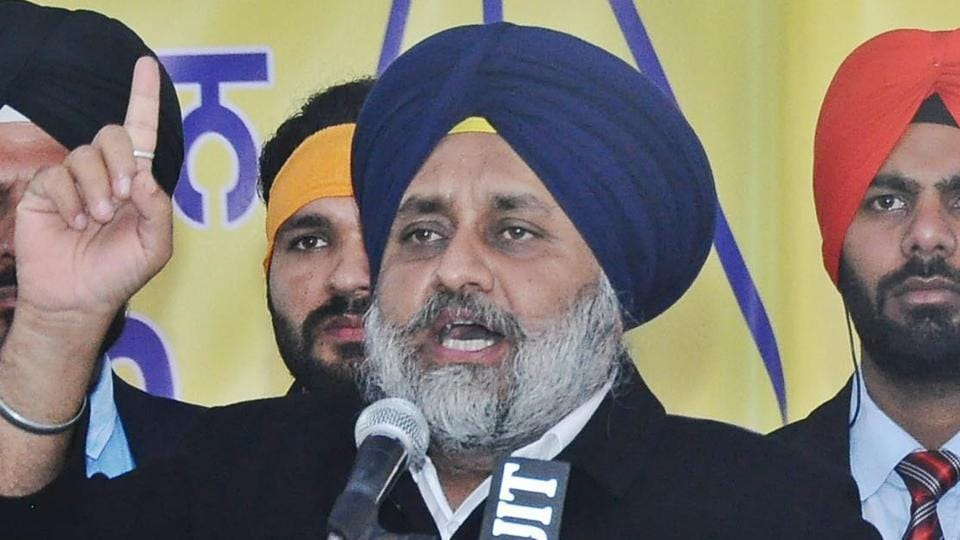 Punjab deputy CM Sukhbir Singh Badal addressing a gathering at village Chabhal in Tarn Tran, on Saturday.