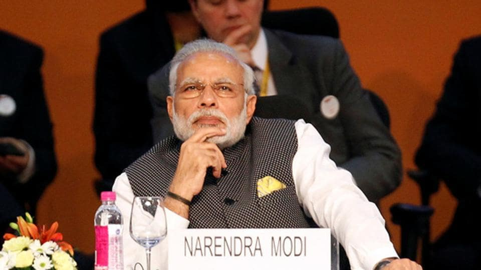 A file photo of Prime Minister Narendra Modi during the Vibrant Gujarat investor summit in Gandhinagar on January 10.