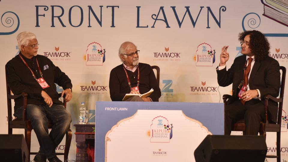 Sanjaya Baru and Surjit Bhalla during the session Narasimhanomics and the Legacy of Reforms at the Jaipur Literature Fest 2017 in Jaipur.