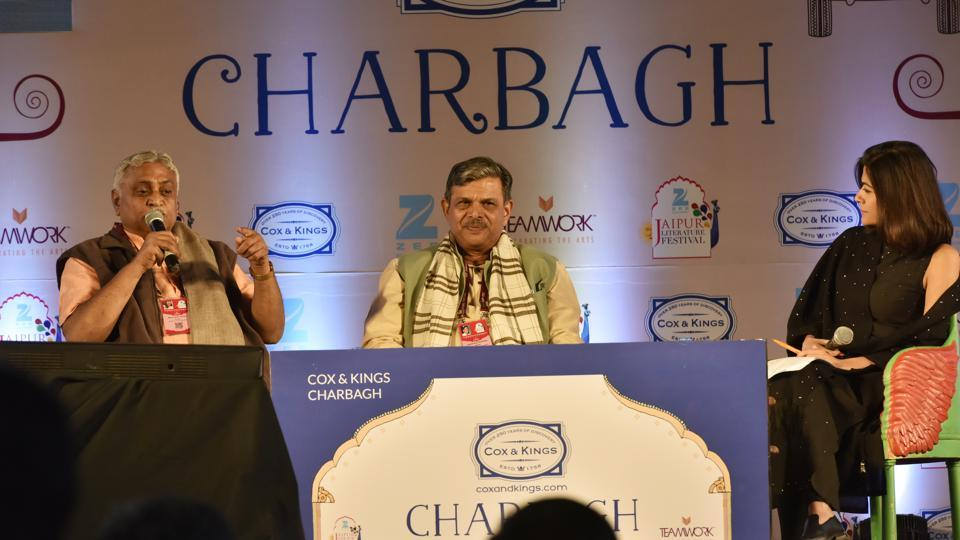 (L to R) Manmohan Vaidya, Dattatreya Hosabale and Pragya Tiwari speak at Saffron and the Sangha session at the Jaipur Literature Fest 2017 in Jaipur, India, on January 19, 2017.