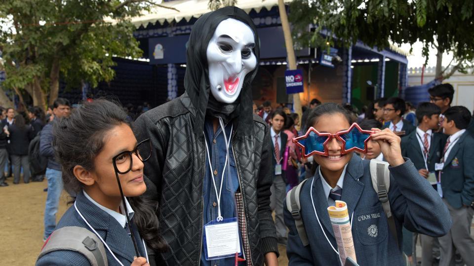 Visitors at JLF 2017 at Diggi Palace in Jaipur on Friday.